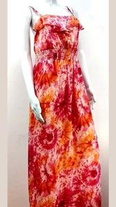 Summer Long Orange Sun Dress Size Small (4-6)